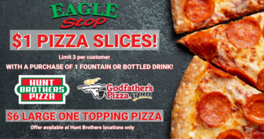 $1 Pizza slices with a purchase of 1 fountain or bottled drink. • Offer starts Tuesday, March 31st! Available Tuesdays
